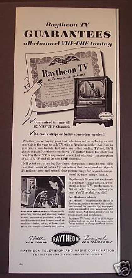 Original Raytheon Television Tv Sets (1953)