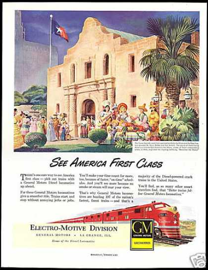 GM Locomotive Train Texas Special Alamo Art (1949)