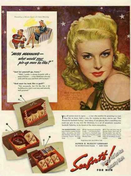 Irene Manning Endorsing Seaforth for Men Rare (1943)