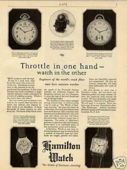 "Hamilton Watches Ad ""Throttle In One Hand... (1926)"