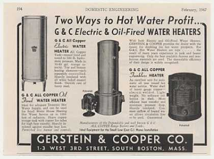 Gerstein & Cooper Electric Oil Water Heaters (1947)