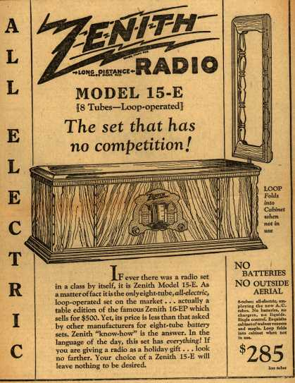 Zenith Radio's model 15-E – The set that has no competition (1927)