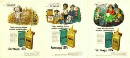 Saratoga Cigarettes Ads – Saratoga 120's Cigarettes – Set of Three (1976)