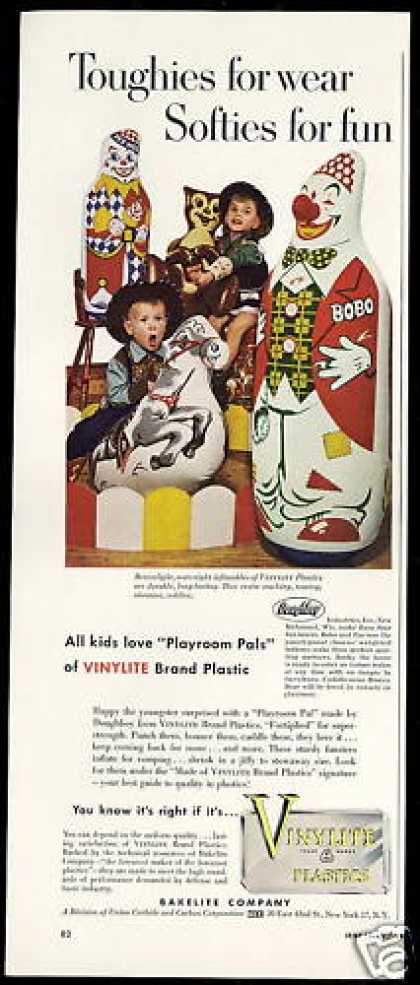 Vinylite Punch Toys Bobo &amp; Pee-Wee Clown (1952)