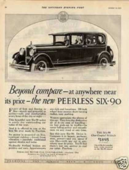 "Peerless Six-90 Sedan Ad ""Beyond Compare... (1927)"