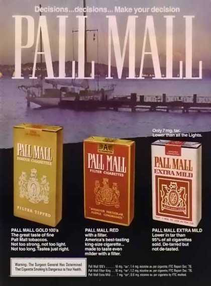 Pall Mall Cigarettes – Sailboat at dock (1976)