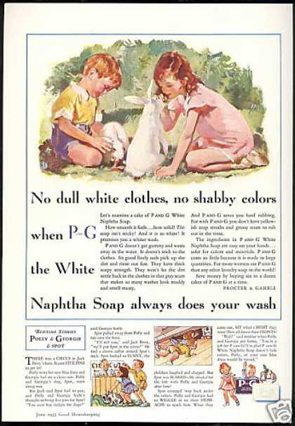 Naptha Soap Cute Redhead Boy Girl Rabbits (1933)