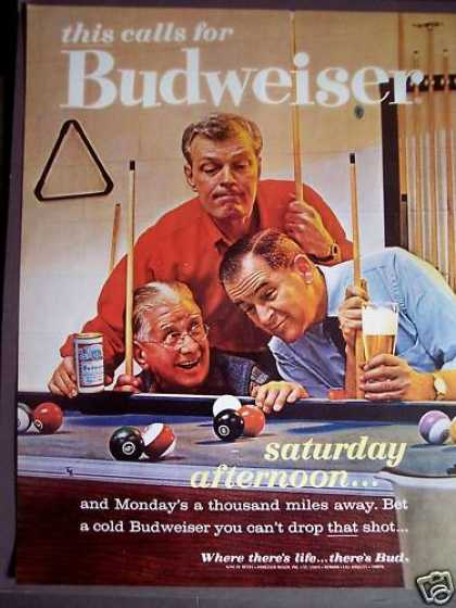 Guys Playing a Game of Pool Budweiser Beer (1963)