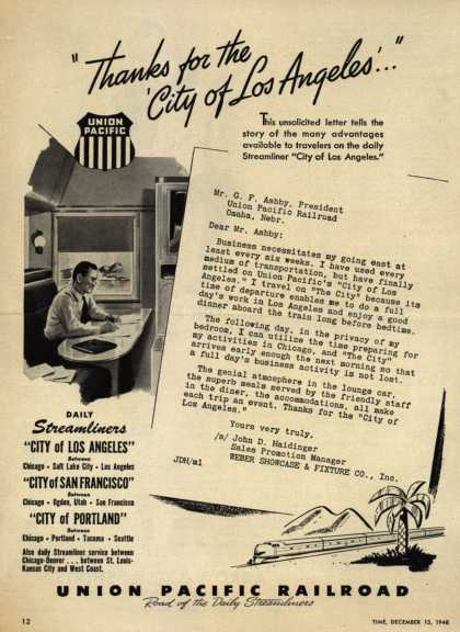 "Union Pacific Railroad's Streamliners – ""Thanks for the 'City of Los Angeles'..."" (1948)"