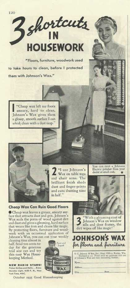Johnsons Wax for Floors Furniture (1935)