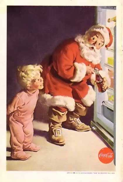 Coke Christmas with Santa caught by Little Boy. (1959)