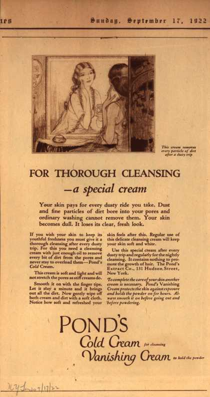 Pond's Extract Co.'s Pond's Cold Cream and Vanishing Cream – For Thorough Cleansing -a special cream (1922)