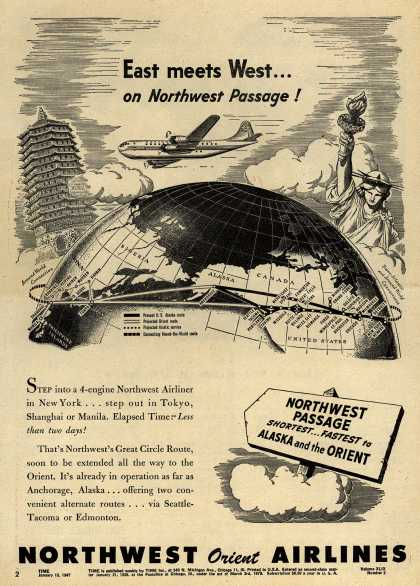 Northwest Airline's Great Circle Route – East meets West... on Northwest Passage (1947)