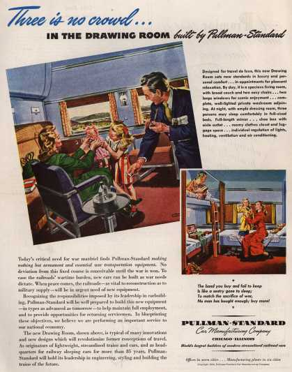 Pullman-Standard Car Manufacturing Company's Railroad Cars – Three is no crowd... In the Drawing Room Built by Pullman-Standard (1945)