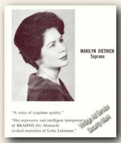 Marilyn Dietrich Photo Soprano Rare Ad Music (1970)