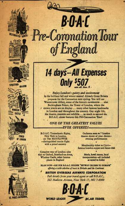British Overseas Airways Corporation's London – Pre-Coronation Tour of England (1952)