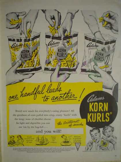 Adams Cheese Korn Kurls One handful leads to another (1950)