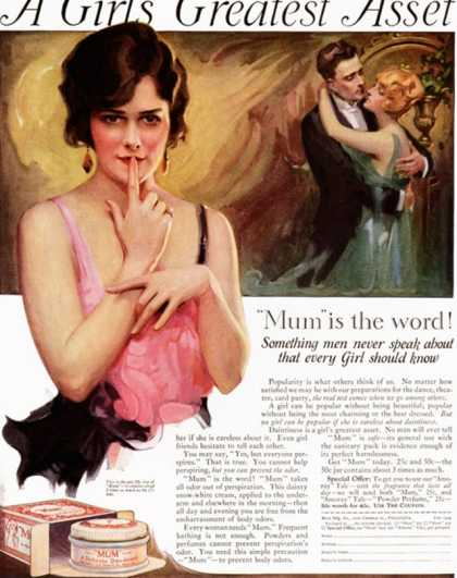 Mum, Deodorants, USA (1920)