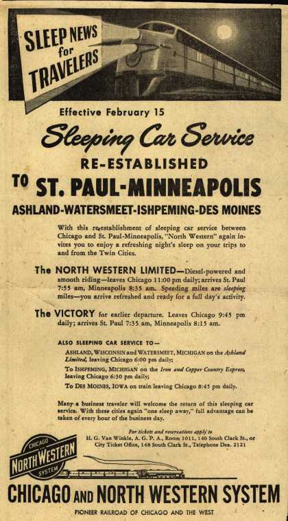 Chicago and North Western System's Sleeper Car Service – Effective February 15 Sleep Car Service Re-established to ST. PAUL-MINNEAPOLIS (1946)