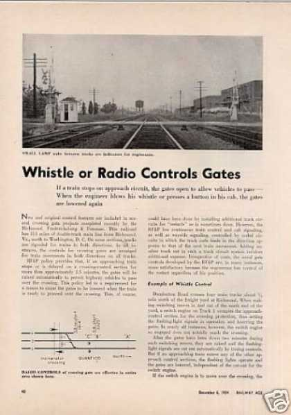 """Whistle or Radio Controls Gates"" Article/rf&p (1954)"
