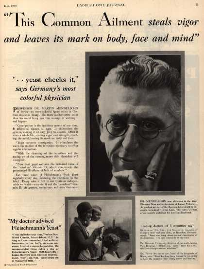 "Standard Brand's Fleischmann's Yeast – ""This Common Ailment steals vigor and leaves its mark on body, face and mind."" (1930)"