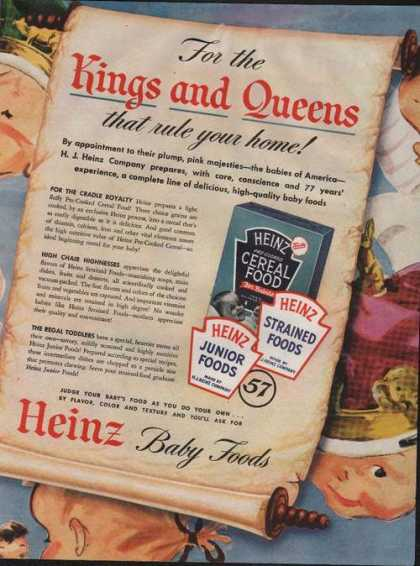 Heinz Precooked Cereal Food for Babies (1946)