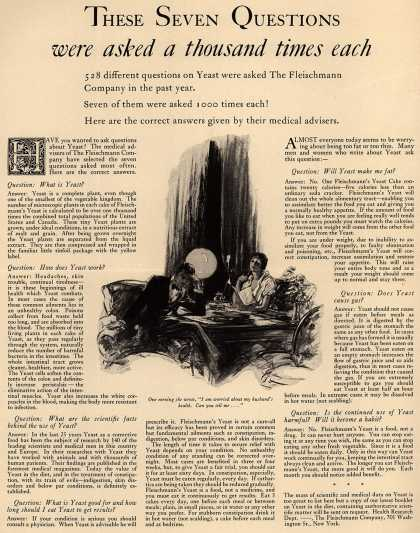[Fleischmann's]'s Fleischmann's Yeast – These seven questions were asked a thousand times each (1933)