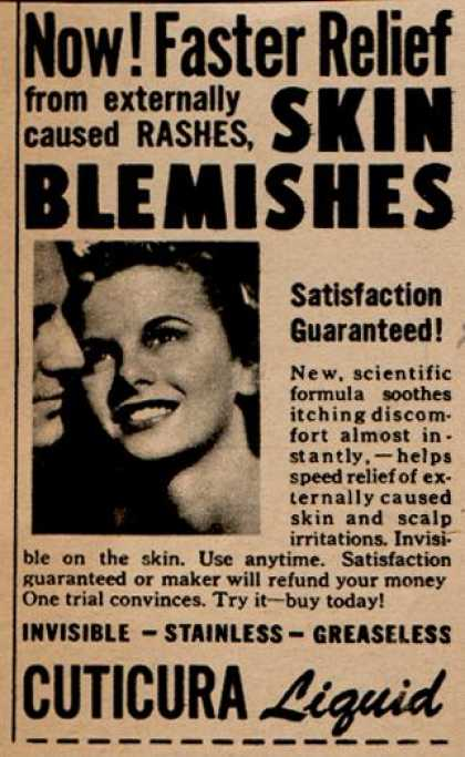 Cuticura – Now! Faster Relief from externally caused Rashes, Skin Blemishes (1949)