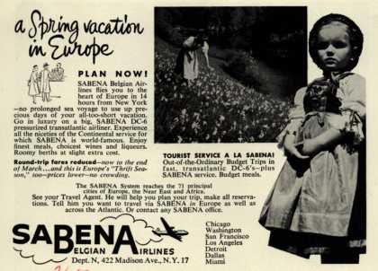 Sabena Belgian Airline's Europe – a Spring vacation in Europe