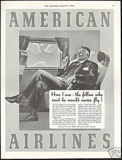 American Airlines Man Smoking Vintage (1939)
