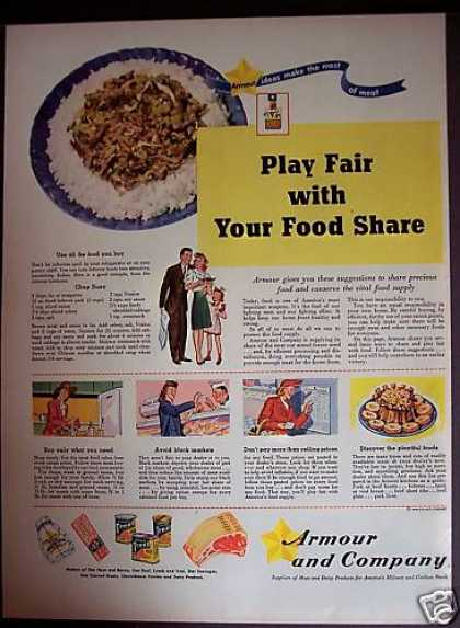 Armour & Co. Food Ad With Chop Suey Recipe (1944)