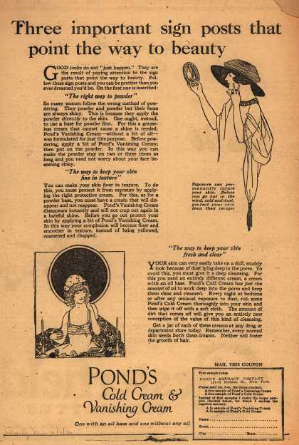 Pond's Extract Co.'s Pond's Cold Cream and Vanishing Cream – Three important sign posts that point the way to beauty (1920)
