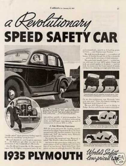 Plymouth Car Ad 2 Page (1935)