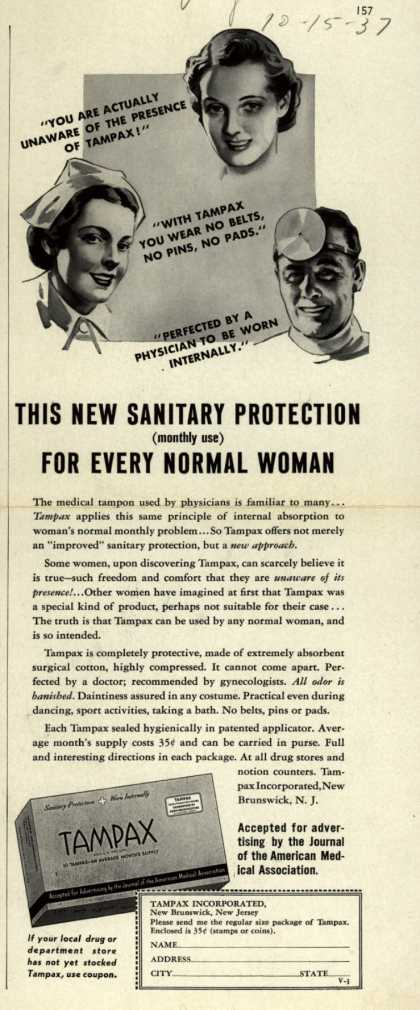 Tampax's Tampons – This New Sanitary Protection For Every Normal Woman (1937)