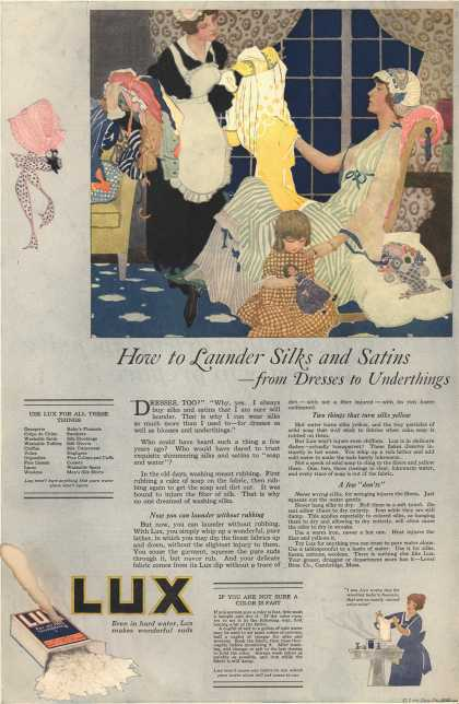 Lever Bros.'s Lux (laundry flakes) – How to Launder Silks and Satins – from Dresses to Underthings (1918)