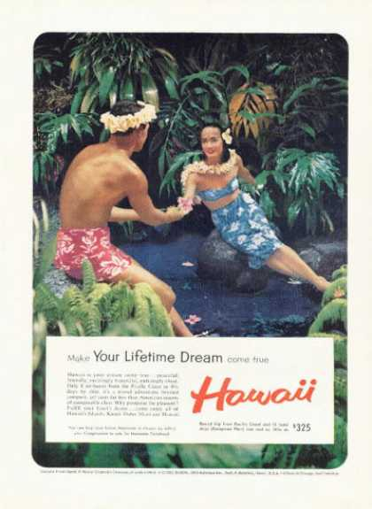 Hawaii Visitors Bureau Ad Native Girl Man (1959)