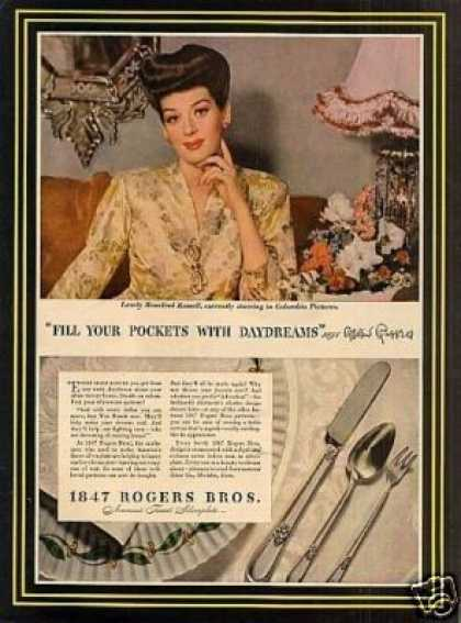 -1847 Rogers Bros. Silverplate Ad Rosalind Russell (1944)