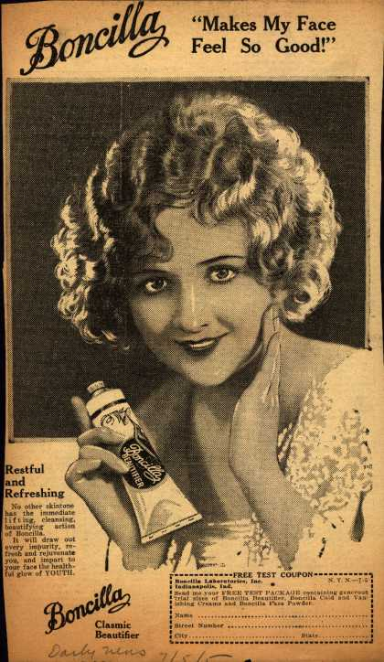 "Boncilla Laboratorie's Boncilla Cosmetics – Boncilla ""Makes My Face Feel So Good!"" (1925)"