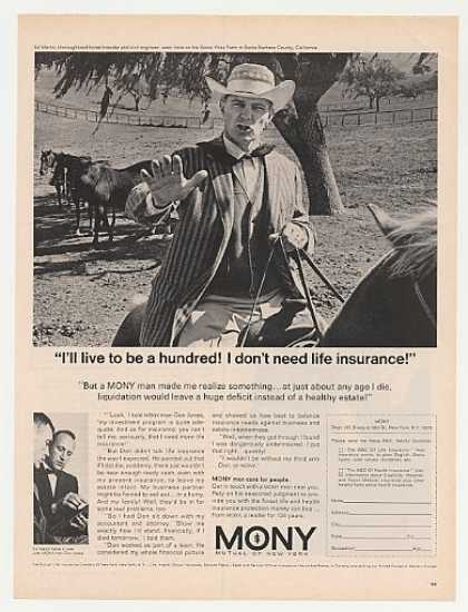 Thoroughbred Horse Breeder Ed Martin MONY Ins (1967)