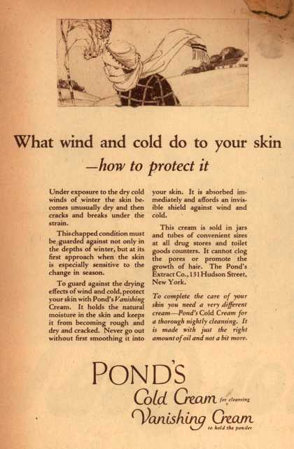 Pond's Extract Co.'s Pond's Cold Cream and Vanishing Cream – What wind and cold do to the skin -how to protect it (1922)