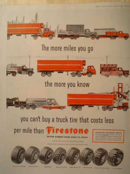 Firestone Truck Tires More miles you go (1957)