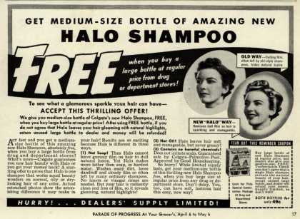 Colgate-Palmolive-Peet Company's Halo Shampoo – Get Medium-Size Bottle Of Amazing New Halo Shampoo Free (1939)