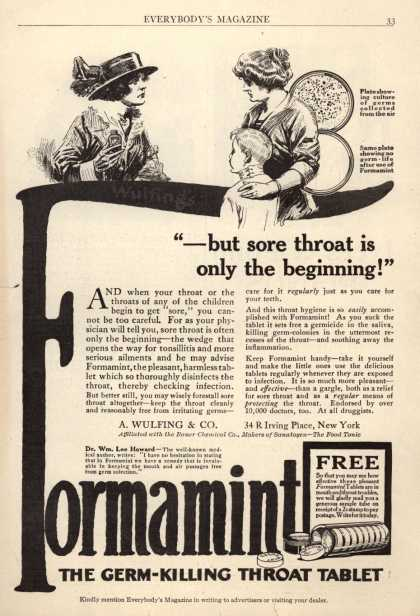 "A. Wulfing & Company's Wulfing's Formamint – ""-but sore throat is only the beginning!"""
