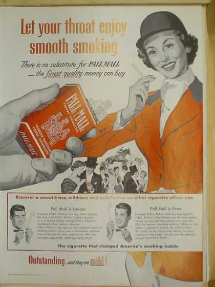 Pall Mall Cigarettes. Let your throat enjoy smooth smoking. Horse riding theme (1953)