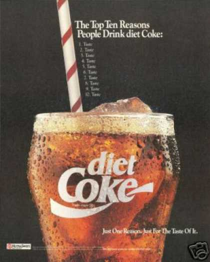 Diet Coke Glass Straw Taste Coca Cola (1990)
