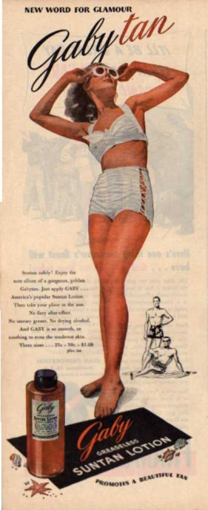 Gaby Greaseless Suntan Lotion Ad Pretty Lady (1945)