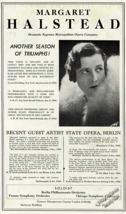 Margaret Halstead Photo Soprano Opera (1934)