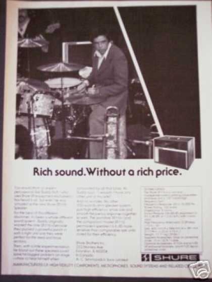 Drummer Buddy Rich Photo Shure Speaker (1977)