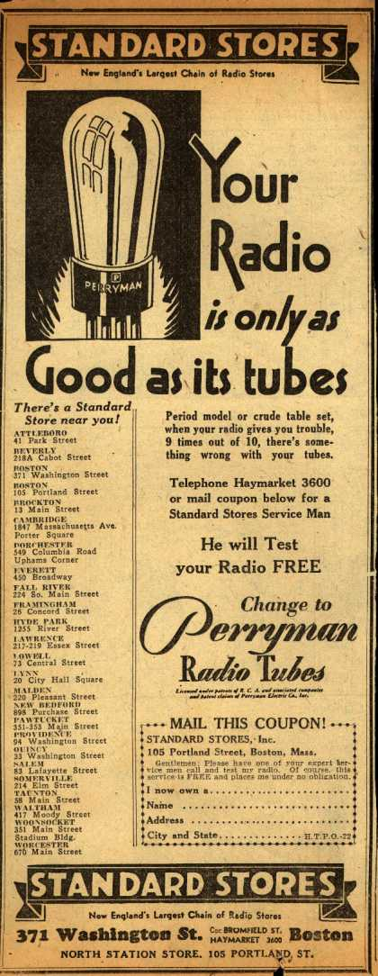 Perryman Radio Tube&#8217;s Radio Tubes &#8211; Standard Stores, Your Radio is only as Good as its tubes (1930)