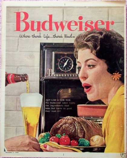 Budweiser Beer Lady Roast Wall Oven Just Like (1959)